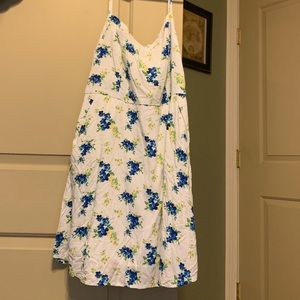 White with blue flowers dress